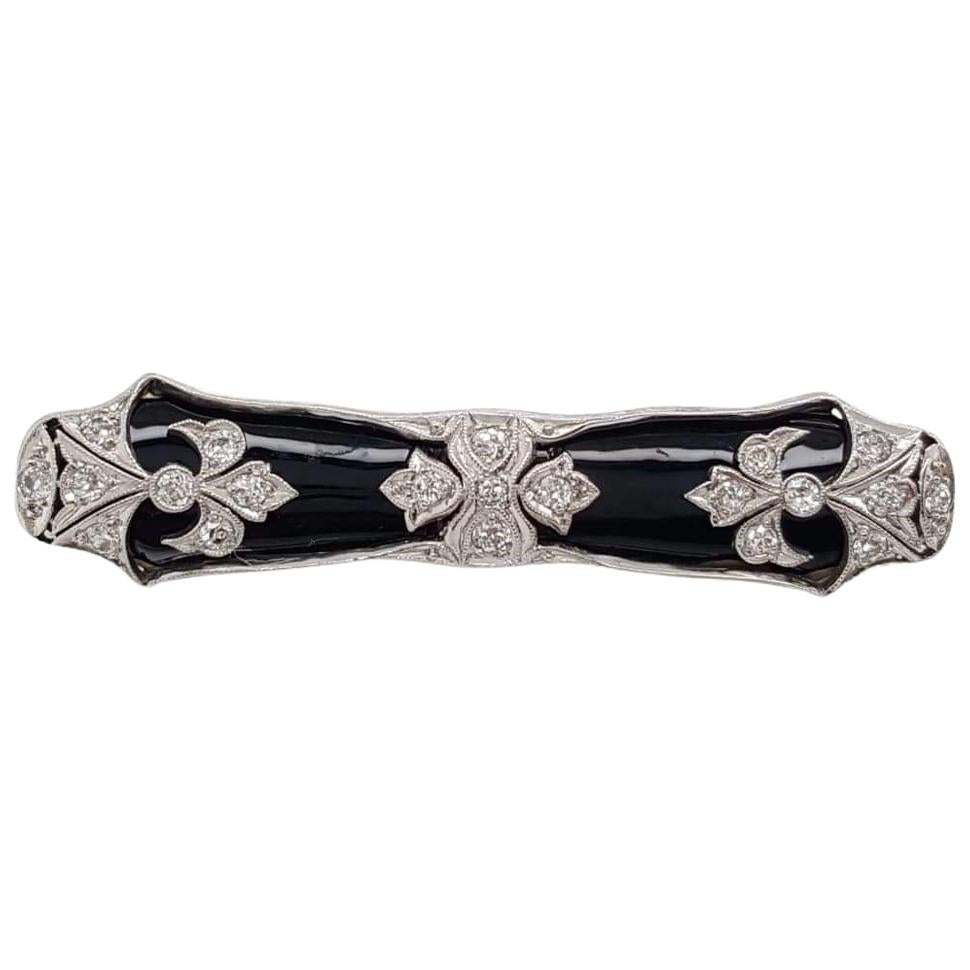 Art Deco 0.5 Carat Old European Cut Diamond with Black Onyx Brooch Pin