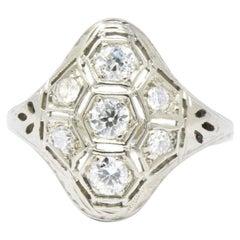 Art Deco 0.50 Carat Diamond 18 Karat White Gold Dinner Ring Circa 1930