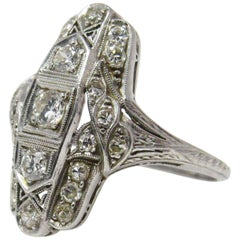 Art Deco 0.50 Carat Diamond and Platinum Dinner Alternative Engagement Ring
