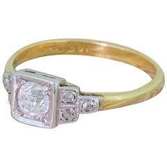 Art Deco 0.50 Carat Old Cut Diamond Gold Platinum Engagement Ring