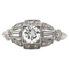 Art Deco 0.50 Carat Platinum Diamond Ring