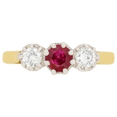 Art Deco 0.50 Carat Ruby and Diamond Three-Stone Ring, circa 1930s
