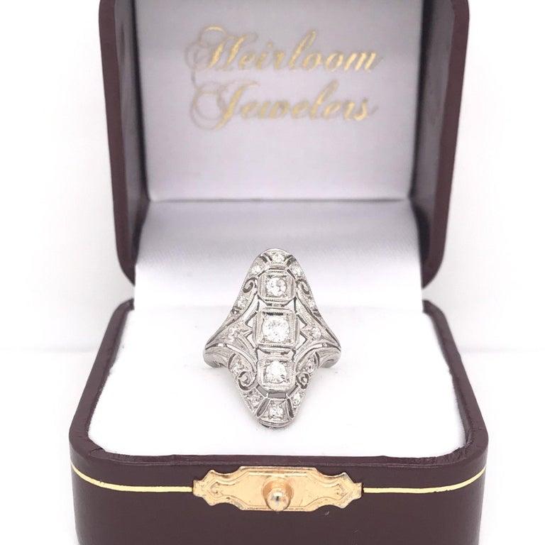 Art Deco 0.50 CTW Diamond Dinner Ring For Sale 6