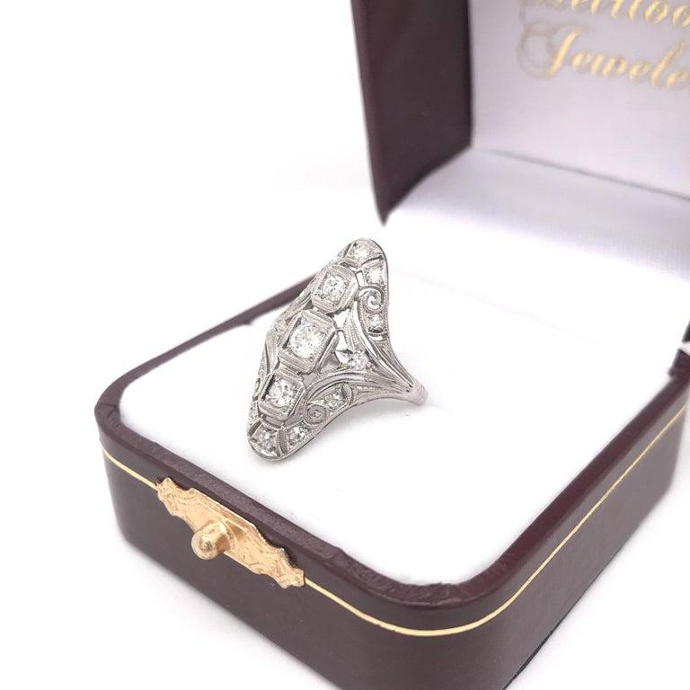 Art Deco 0.50 CTW Diamond Dinner Ring For Sale 3