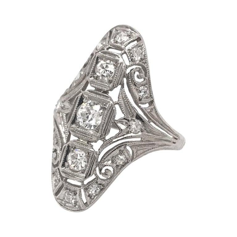 Art Deco 0.50 CTW Diamond Dinner Ring For Sale