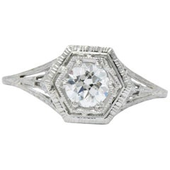 Art Deco 0.51 Carat Diamond 18 Karat White Gold Engagement Ring