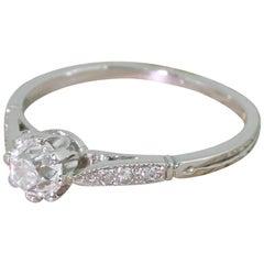 Art Deco 0.52 Carat Old Cut Diamond Platinum Engagement Ring