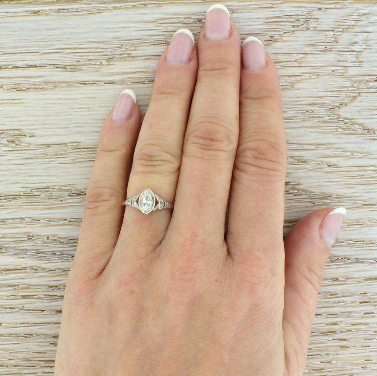 Art Deco 0.54 Carat Old Marquise Cut Diamond Engagement Ring For Sale 1