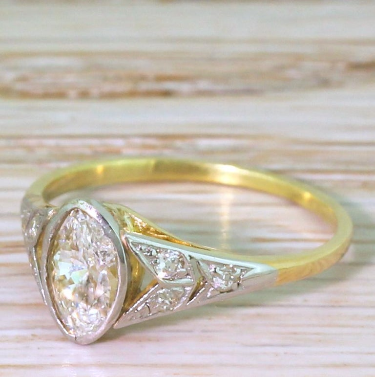 Art Deco 0.54 Carat Old Marquise Cut Diamond Engagement Ring For Sale 3
