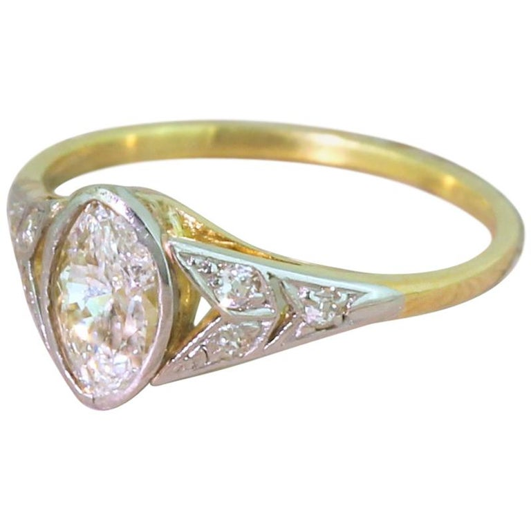 Art Deco 0.54 Carat Old Marquise Cut Diamond Engagement Ring For Sale