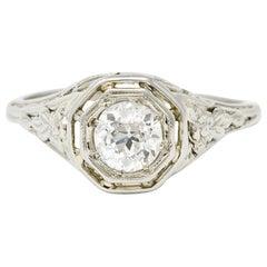 Art Deco 0.55 Carat Diamond 18 Karat White Gold Engagement Ring