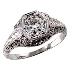 Art Deco 0.55 Carat Diamond Platinum Engagement Ring