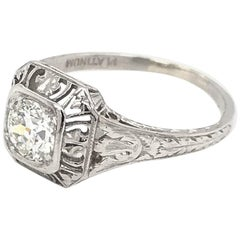 Art Deco 0.55 Carat Platinum Diamond Filigree Ring