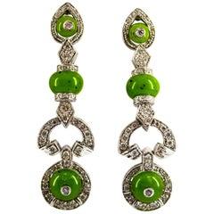 Art Deco Style 0.55 Carat White Diamond Jade White Gold Stud Drop Earrings