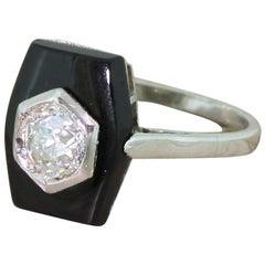 Art Deco 0.56 Carat Old Cut Diamond and Onyx Ring