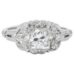 Art Deco 0.57 Carat Old European Cut Diamond Platinum Engagement Ring