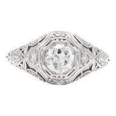 Art Deco 0.58 Carat Old European Cut Diamond Ring