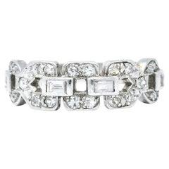 Art Deco 0.60 Carat Diamond Platinum Buckle Band Ring