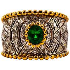 Art Deco Style 0.60 Carat Emerald 0.50 Carat Diamond Yellow Gold Cocktail Ring