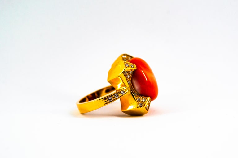 Art Deco Style 0.60 Carat White Diamond Mediterranean Coral Yellow Gold Ring For Sale 5