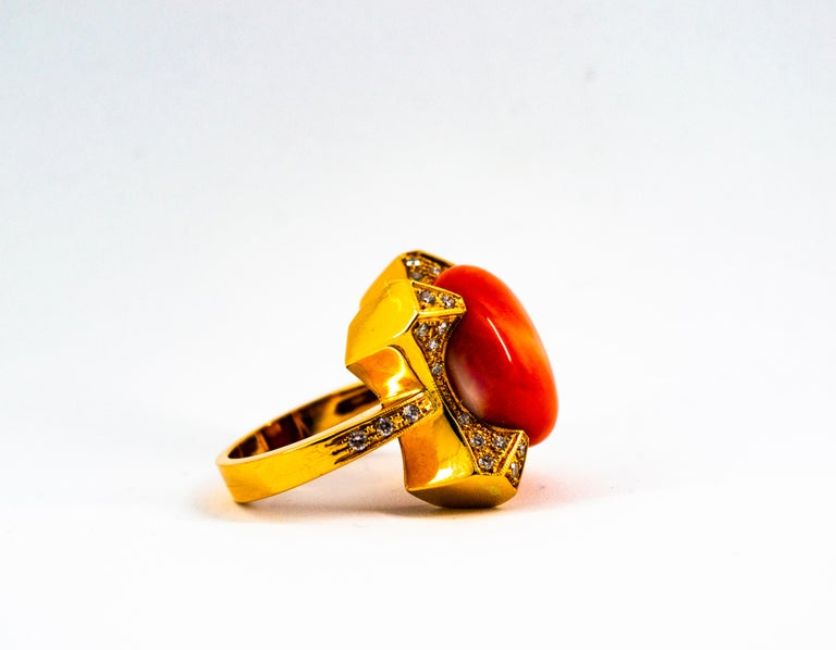 Art Deco Style 0.60 Carat White Diamond Mediterranean Coral Yellow Gold Ring For Sale 6
