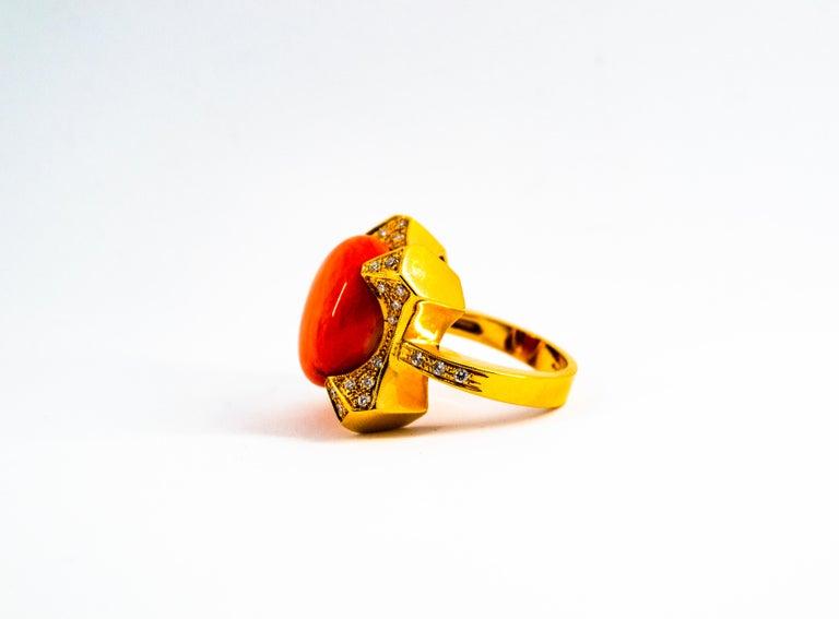 Women's or Men's Art Deco Style 0.60 Carat White Diamond Mediterranean Coral Yellow Gold Ring For Sale
