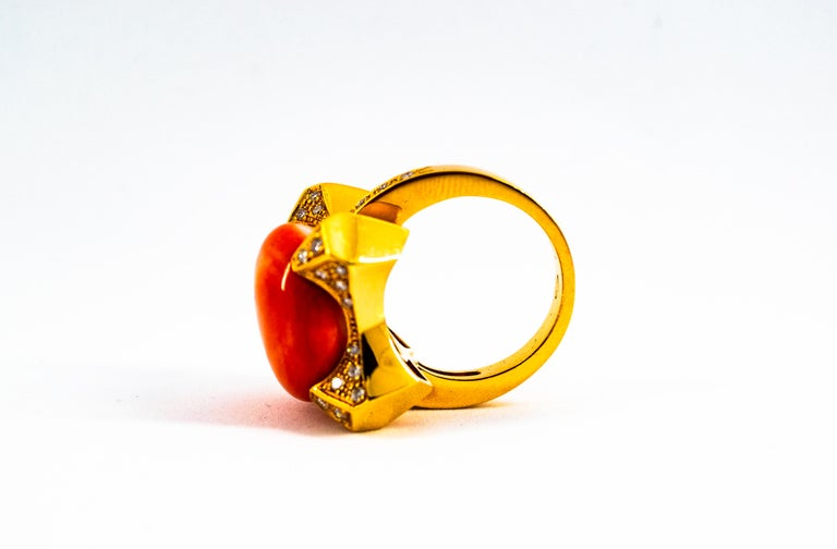 Art Deco Style 0.60 Carat White Diamond Mediterranean Coral Yellow Gold Ring For Sale 1