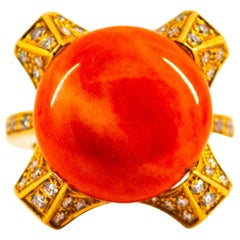 Art Deco Style 0.60 Carat White Diamond Mediterranean Coral Yellow Gold Ring