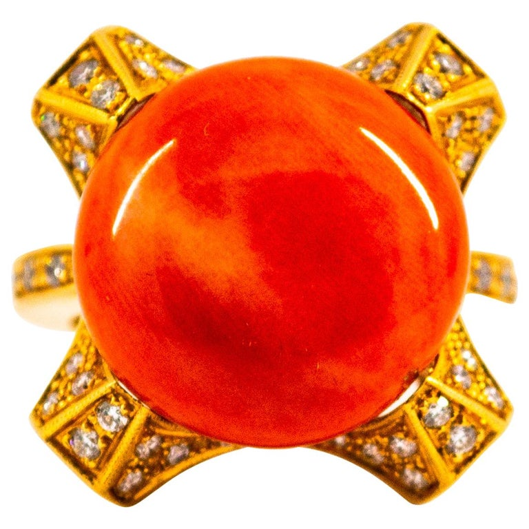 Art Deco Style 0.60 Carat White Diamond Mediterranean Coral Yellow Gold Ring For Sale