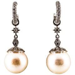 Art Deco 0.60 Carat White Modern Round Diamond Pearl White Gold Drop Earrings