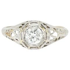 Art Deco 0.61 Carat Diamond 18 Karat White Gold Filigree Engagement Ring