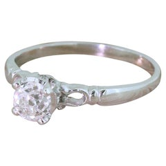 Art Deco 0.63 Carat Old Mine Cut Diamond Engagement Ring, circa 1920