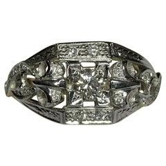 Art Deco Style 0.64 White Diamond 18 Karat White Gold Ring