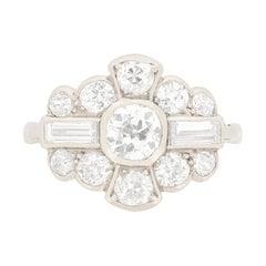 Art Deco 0.65 Carat Diamond Cluster Ring, circa 1920s