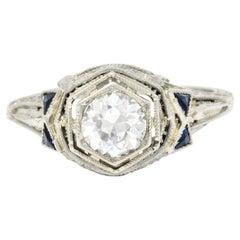 Art Deco 0.65 Carat Diamond Sapphire 18 Karat White Gold Engagement Ring