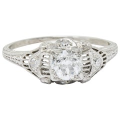 Art Deco 0.65 Carat Old European Cut Diamond Platinum Engagement Ring