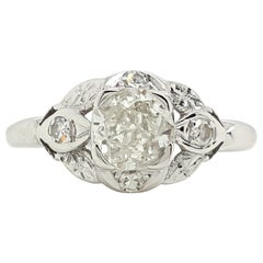 Art Deco 0.65 Old European Cut and Single Diamond Engagement Ring
