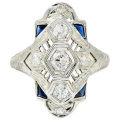 Art Deco 0.67 Carat Diamond Sapphire 18 Karat White Gold Dinner Ring