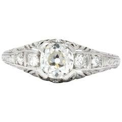 Art Deco 0.70 Carat Diamond Platinum Engagement Ring