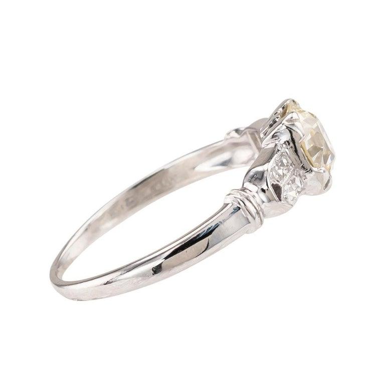 Women's or Men's Art Deco 0.70 Carat Old European Cut Diamond Platinum Solitaire Engagement Ring For Sale