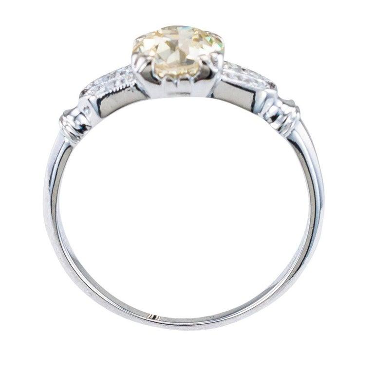 Art Deco 0.70 Carat Old European Cut Diamond Platinum Solitaire Engagement Ring For Sale 1