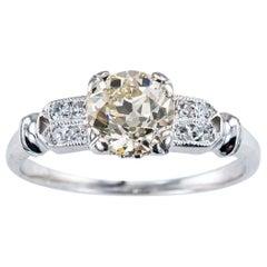 Art Deco 0.70 Carat Old European Cut Diamond Platinum Solitaire Engagement Ring