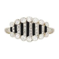 Art Deco 0.70 Carat Diamond and Onyx Cocktail Ring, circa 1920s