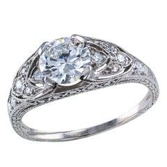 Art Deco 0.71 Carat Old European Cut Diamond Platinum Engagement Ring