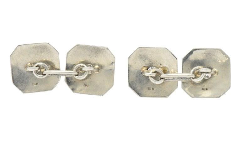 Art Deco 0.72 Carat Diamond 18 Karat White Gold Cufflinks In Excellent Condition For Sale In Philadelphia, PA
