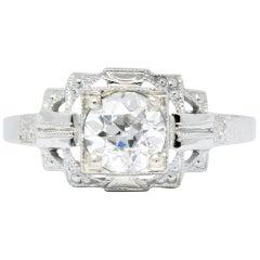 Art Deco 0.73 Carat Diamond 18 Karat White Gold Engagement Ring GIA