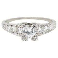 Art Deco 0.73 Carat Diamond Platinum Engagement Ring