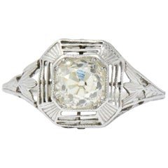Art Deco 0.75 Carat Diamond Platinum Engagement Ring Circa 1930
