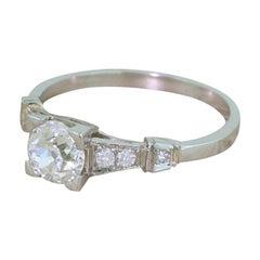 Art Deco 0.75 Carat Old Cut Diamond Engagement Ring