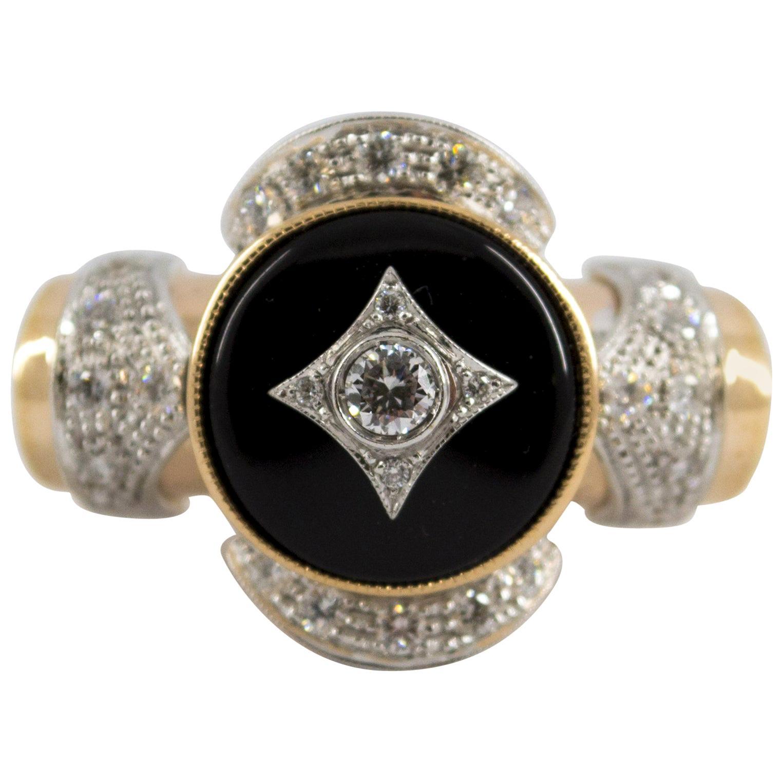 Art Deco Style 0.75 Carat White Diamond Onyx Yellow Gold Cocktail Ring